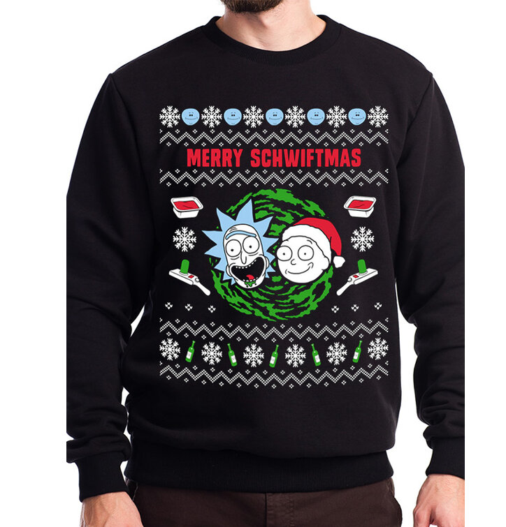 Sweatshirt Rick and Morty - Merry Schwiftmas