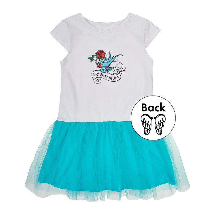 d7d9408754 Kék-fehér lányos ruha Az első tetoválásom   Dedoles