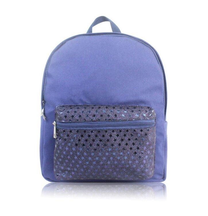 6add929e25 Modrý ruksak s glitter vreckom