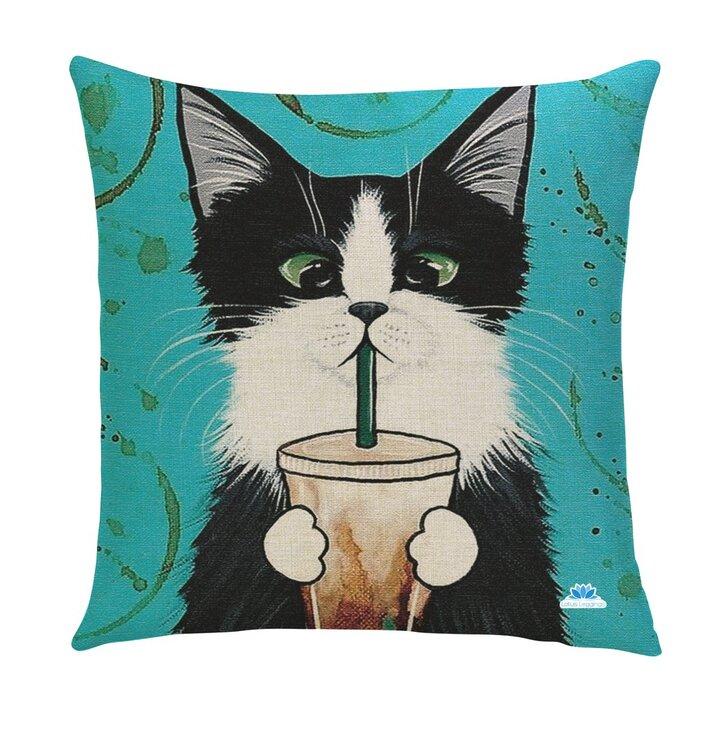 Obojstranná obliečka na vankúš Mačka s frapé