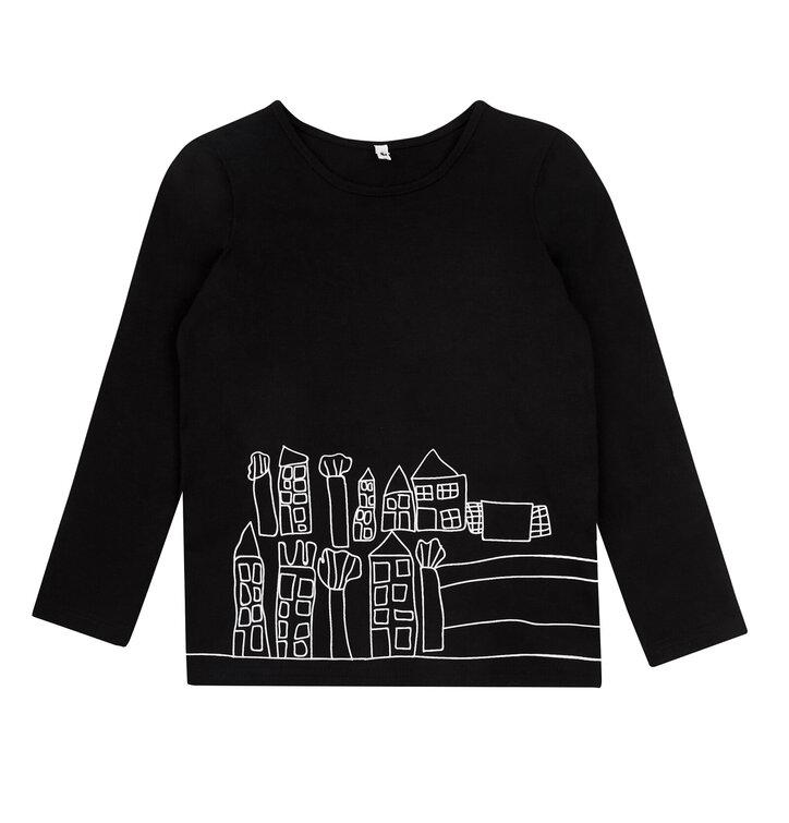 Dětská černá mikina bez kapuce Kreslené městečko