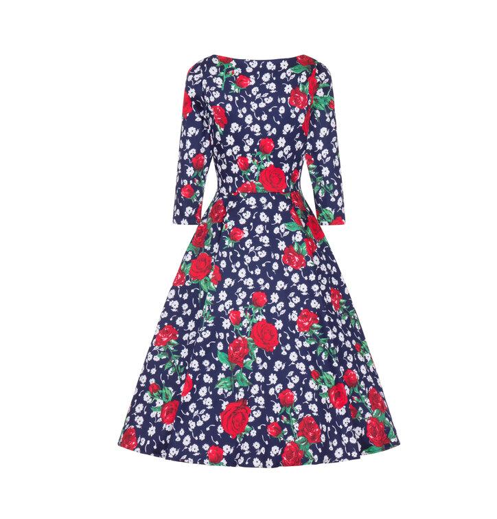 6006021b260 Foto Retro pin up šaty s rukávem Bílé a červené květy