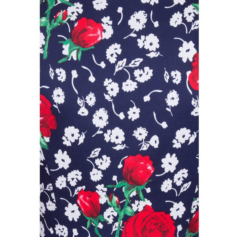 0feaf65b152 Sleva Retro pin up šaty s rukávem Bílé a červené květy