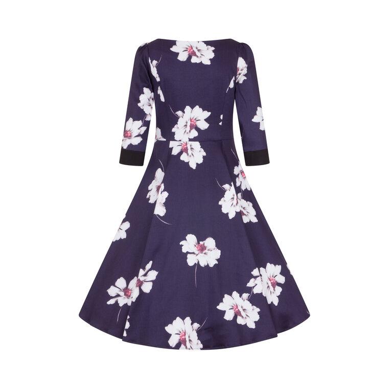 d3166b84119b pro dokonalý a originální outfit Retro pin up šaty s rukávem Bílé květy