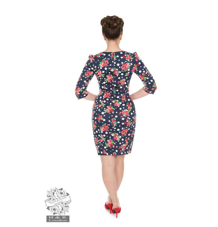 bb04c548bc31 Tip na darček Retro pin up šaty s rukávom Bodky a ruže