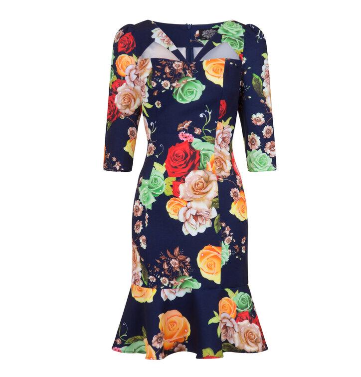 edbb4b32af2f Pre dokonalý a originálny outfit Retro pin up šaty s rukávom Farebné ruže