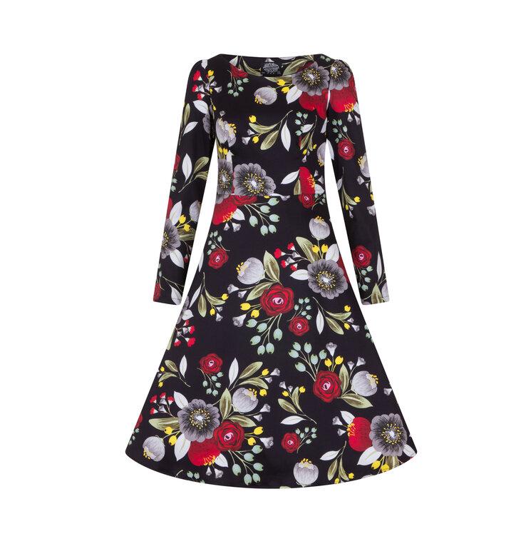 Výpredaj Retro pin up šaty s rukávom Jesenný čaj 3581424a525