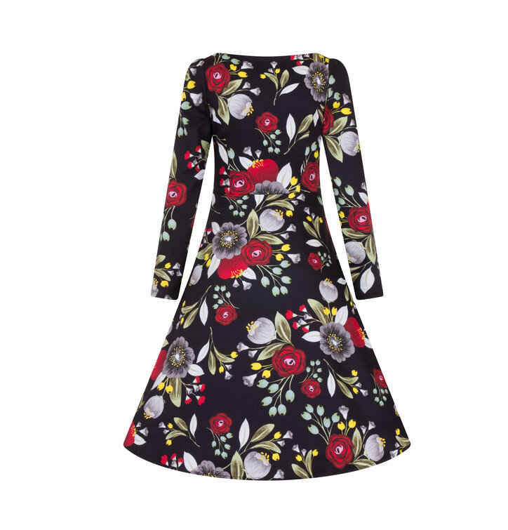 e23b0bb70a1c Výjimečný dárek od Dedoles Retro pin up šaty s rukávem Podzimní čaj