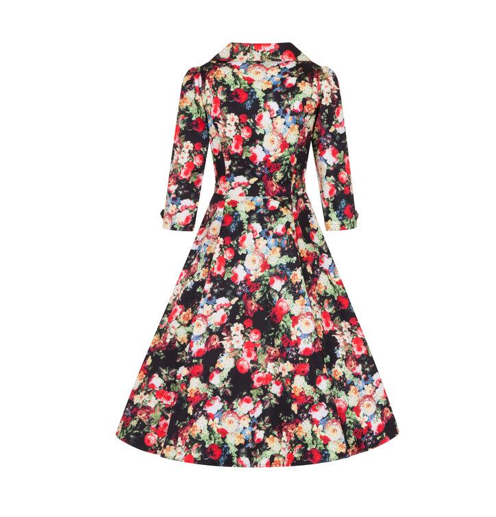 26887f9b62f Výjimečný dárek od Dedoles Retro pin up šaty s rukávem Letní louka