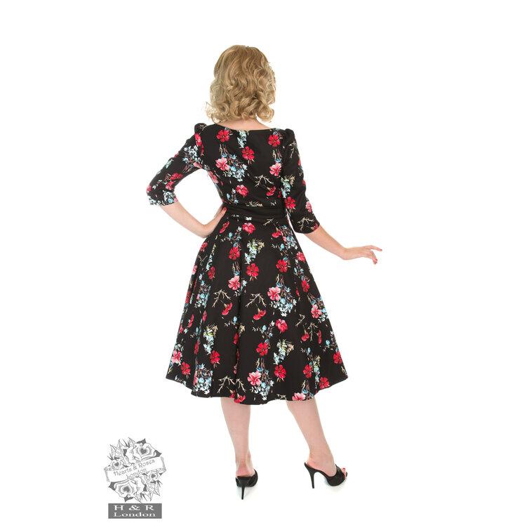 59428ce63992 Obrázok produktu Retro pin up šaty s rukávom Modré a červené kvety