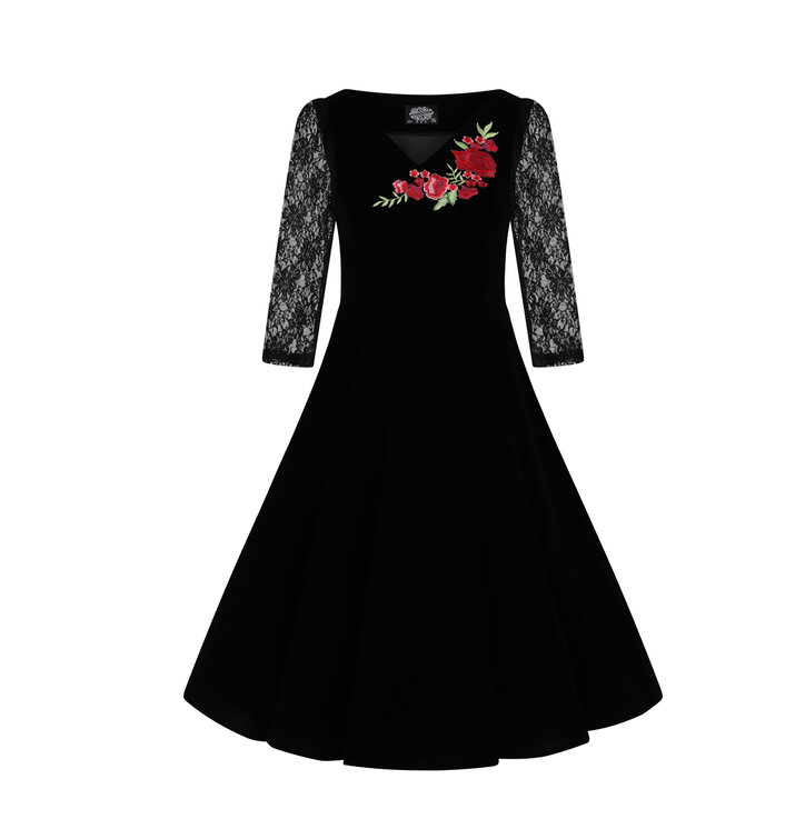 3bf1b16c6d5 Výprodej Retro pin up šaty s rukávem Růže s krajkou