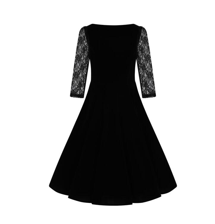 e0168d3551ce Výnimočný darček od Dedoles Retro pin up šaty s rukávom Ruža s čipkou