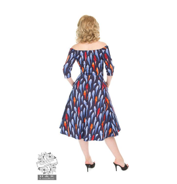 e5fb2983398e Zľava Retro pin up šaty s rukávom Rybky