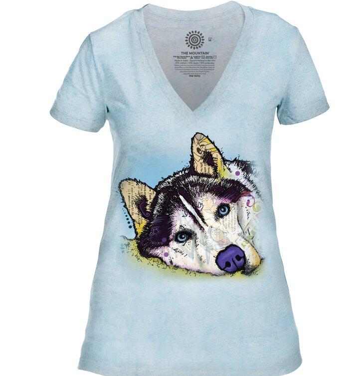 3b3cfb51bb2e Zľava Dámske tri-blend tričko s véčkovým výstrihom Russo Sibírsky husky