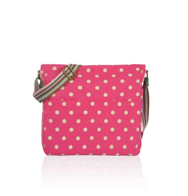 Ružová bodkovaná crossbody taška