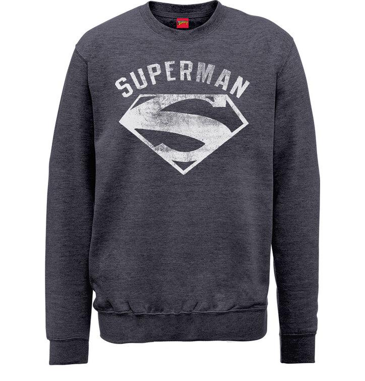 Sleva Šedá mikina bez kapuce DC Comics Superman Logo Spray 011abdb6f7
