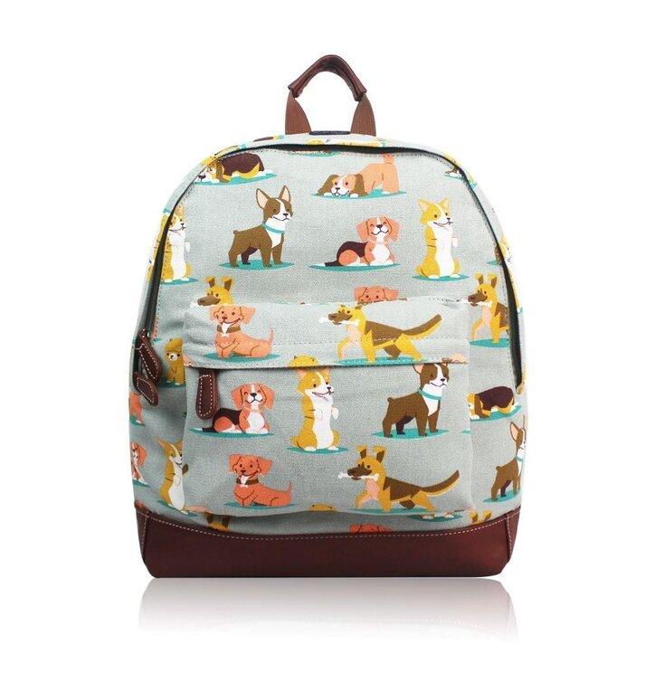 Šedý ruksak Psíky