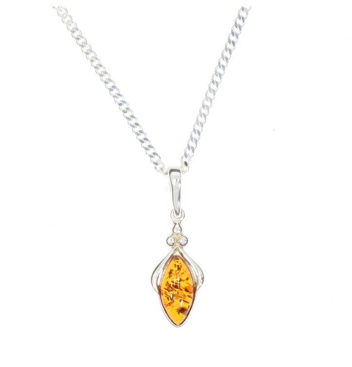 Silberne Halskette mit Bernstein Biene
