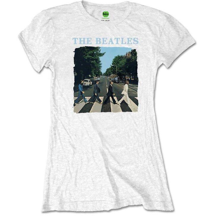 Бяла дамска тениска The Beatles Abbey Road