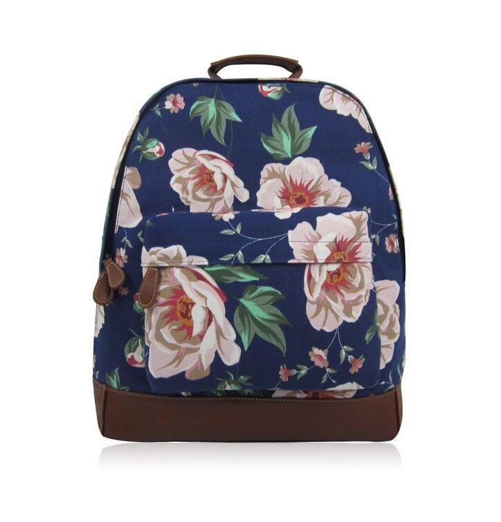 Tip na dárek Tmavě modrý batoh s jednou kapsou Floral a7c2a7ad33