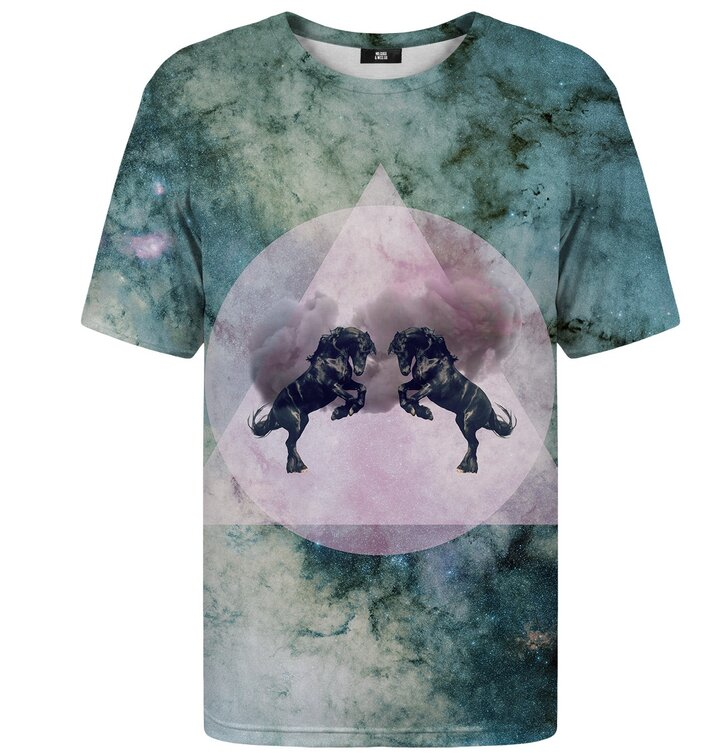99f1cfa5a20874 T-Shirt mit kurzen Ärmeln Schwarze Pferde | Dedoles