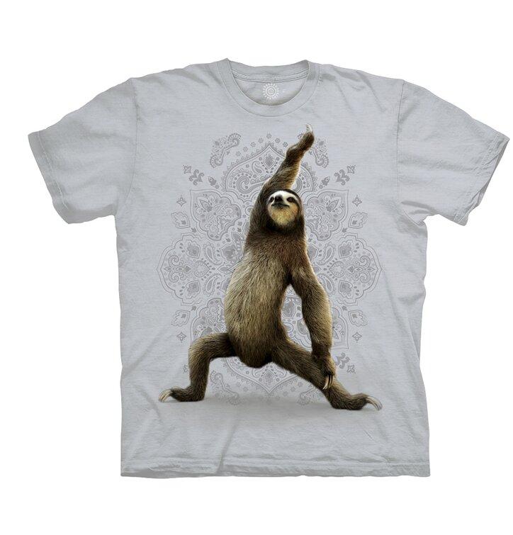 Béžové tričko Jóga leňochod pozícia Bojovník