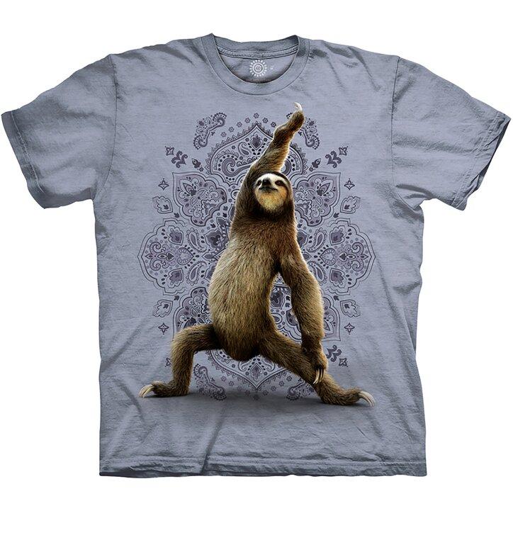 Sivé tričko Jóga leňochod pozícia Bojovník