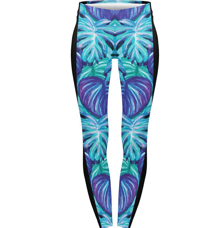 Damen Leggings elastisch Tropisches Neon