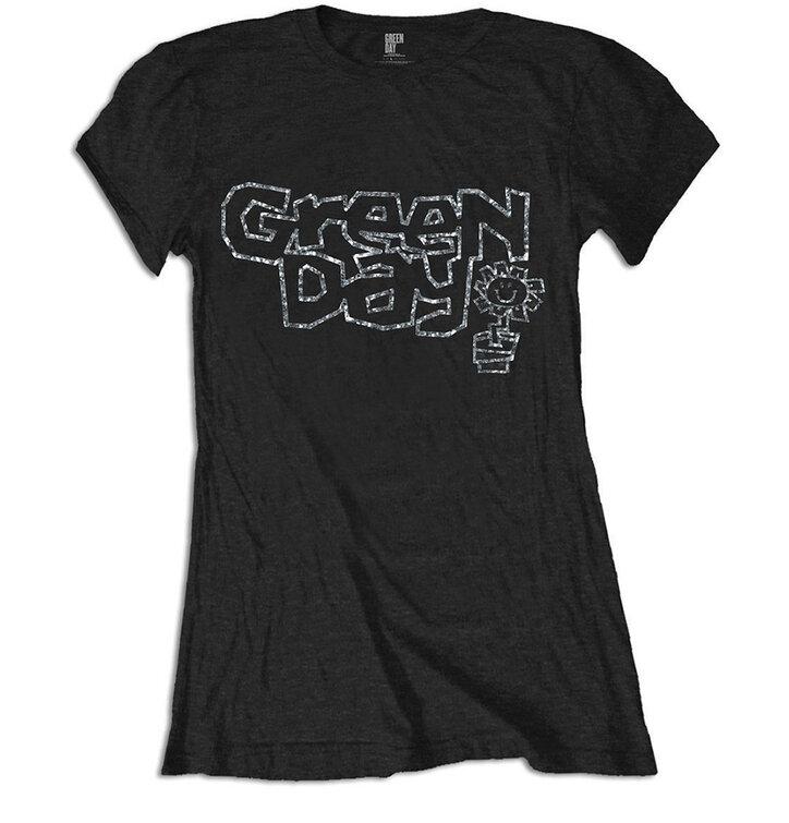 Ženska majica Green Day Flower Pot with Rhinestone Application