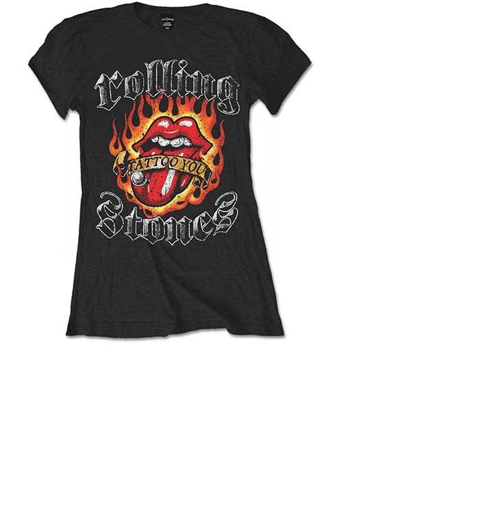 Schnäppchen für Mode beste Qualität gemütlich frisch Damen T-Shirt The Rolling Stones Flaming Tattoo Tongue