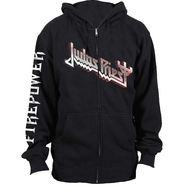 Hanorac negru cu fermoar Judas Priest Firepower
