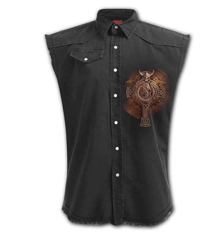 Pánska Plus size košeľa bez rukávov Vikingský štít