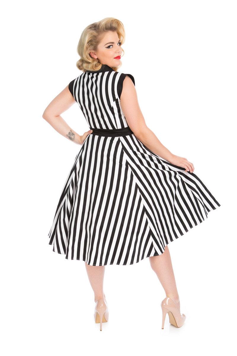 Vintage Streifen Pin Up Kleid Schwarz weiß