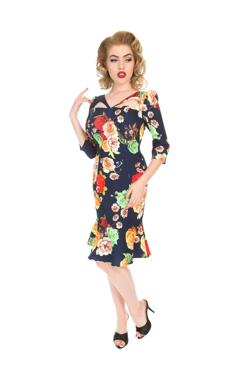 Vintage Pin Up Kleid mit Ärmel Farbige Rosen | Dedoles