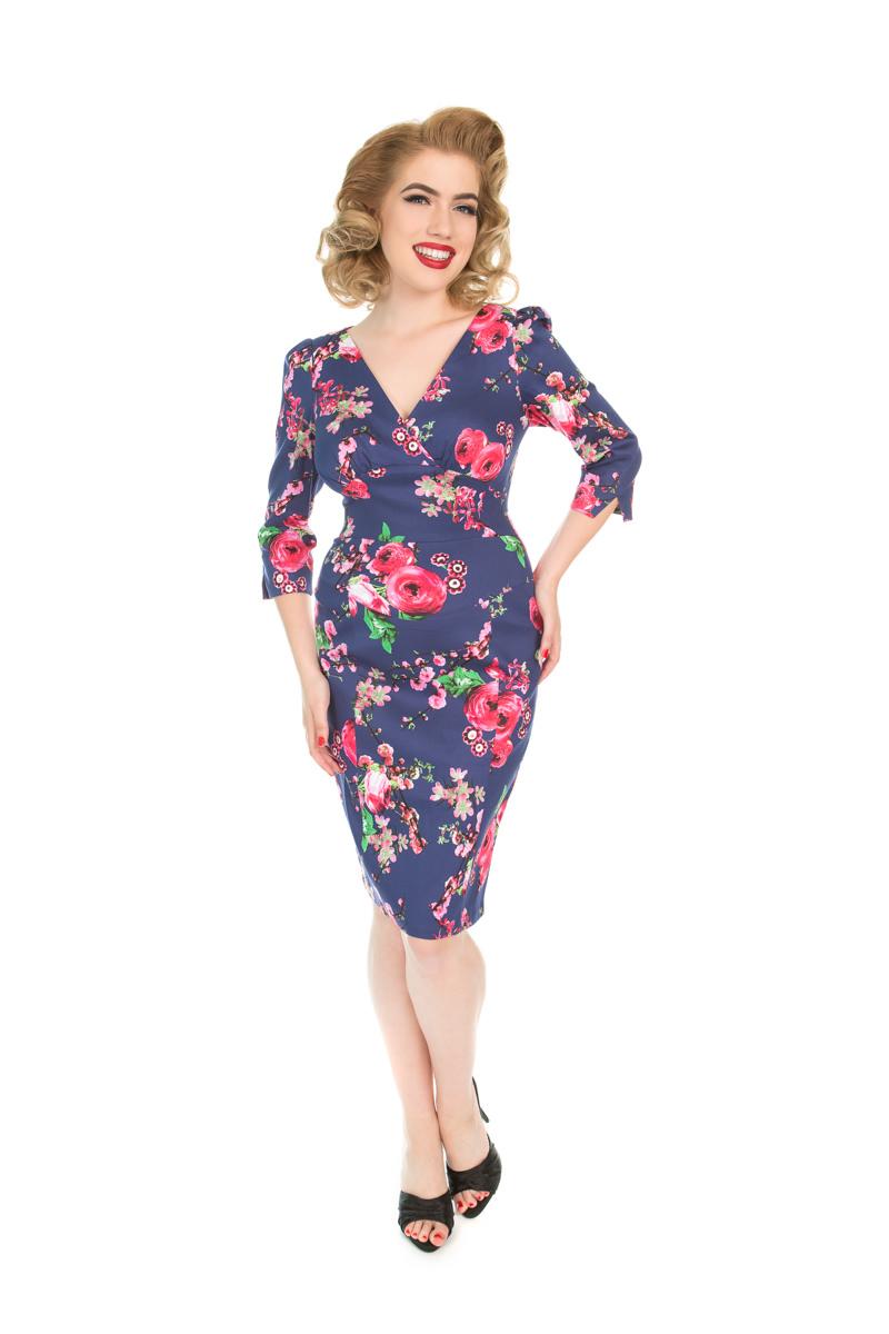 Vintage Hülsen-Kleid mit Ärmel Rosa Blumen | Dedoles