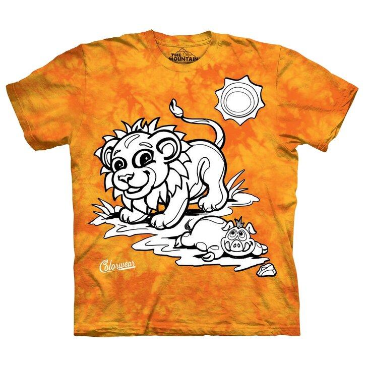 Tricou De Colorat Pentru Copii Leu Galben Cu Portocaliu