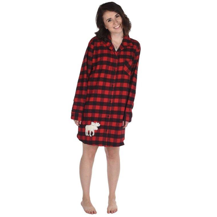 hot sale online eeb09 3110a Damen Flanell-Nachthemd Rot-schwarze Quadrate | Dedoles