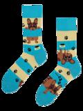 Wysokie wesołe skarpetki Psy i paski