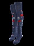Chaussettes rigolotes hautes au-dessus des genoux Coccinelles et fleurs de pavot