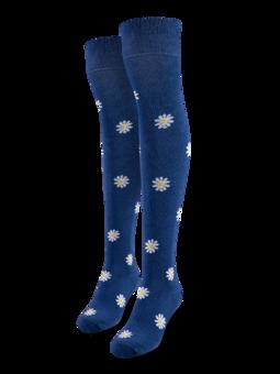Chaussettes rigolotes hautes au-dessus des genoux Marguerites blanches