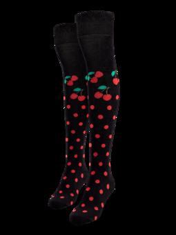 Chaussettes rigolotes hautes au-dessus des genoux Cerise