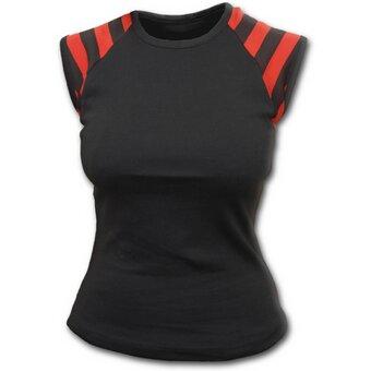Schwarzes Frauen-T-Shirt mit schwarzen und roten Streifen