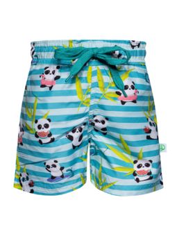 Veselé chlapčenské plavkové šortky Panda na dovolenke