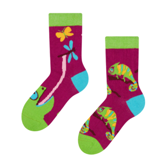 Chaussettes rigolotes pour enfantsCaméléon