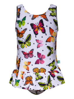 Girls' Swimsuit Colourful Butterflies