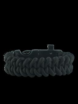 Schwarzes Paracord Armband mit Feuerschläger, Kompass und Pfeife Shark