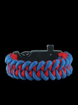 Kék-piros paracord karkötő tűzcsiholóval, iránytűvel és síppal Shark