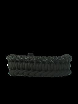 Schwarzes Paracord-Armband Salvadora mit Anzünder, Kompass und Pfeife