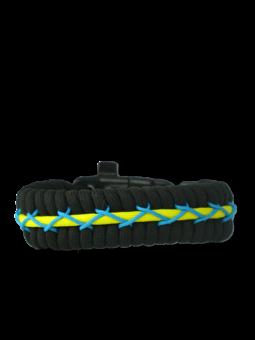 Crna, žuta i plava narukvica Track od padobranskog užeta s potpaljivačem, kompasom i zviždaljkom