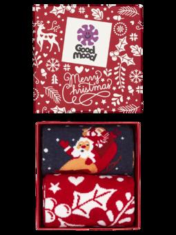 Geschenkbox Weihnachtsmann und Rudolf